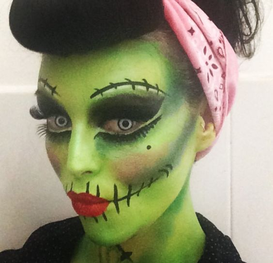 make up pin up zombie halloween