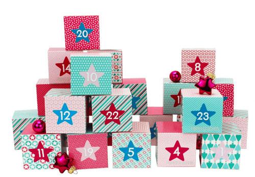 calendario dell'avvento – 24 scatole colorate
